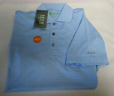 NEW IZOD GOLF MEN'S SOLID POLO SHORT SLEEVE SHIRT UV WICKING BLUE STRIPES SMALL