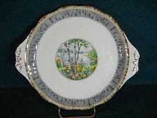 "Royal Albert Silver Birch 10 1/2"" Handled Cake / Cookie Plate"