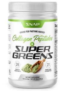 Organic Super Greens Collagen Peptides Powder - Green Juice Superfood - 12 oz