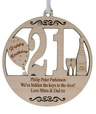 PERSONALISED 21ST BIRTHDAY PLAQUE - ENGRAVED WITH THE WORDING OF YOUR CHOICE