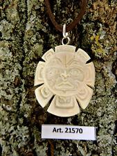 Laccio + Ciondolo in OSSO inciso a mano simbolo tribale SOLE nativi dal CANADA