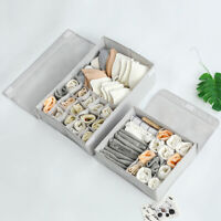 Underwear Divider Closet Organizer Storage Box Bra Ties Socks Container Gray