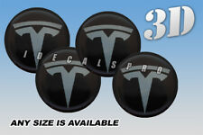 TESLA domed wheel center cap decals emblems stickers 4 pcs ~ ANY SIZE ~ gunm/b