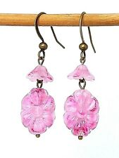 Vintage Art Deco pink pressed glass flower bead earrings - match 1930s necklaces