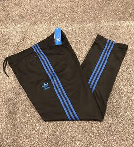 Adidas Originals Firebird Tracksuit Bottoms Mens Medium Black With Blue Stripes