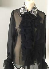 NUOVO senza etichette velato nero in chiffon RUFFLE BLOUSE Pearl & Perline Colletto Maniche Lunghe