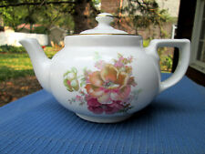 Hall China BOSTON TEAPOT 2-CUP w Gold Trim & ENHANCED with FLORAL DESIGN,MINT!