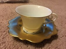 JL Coquet Samoa Gold Tea Cup & Saucer NWT Limoges China