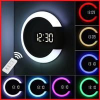 3D Wall Clock Digital LED Hollow Table Watch Nightlight Modern Home Decorations