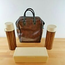 Vintage Faux Wood Thermos Picnic Set- Soup & Sandwich Set w/ Vinyl Tote- Glass