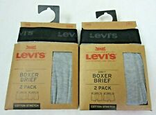 Levis Mens Cotton Stretch Boxer Briefs 2 pack 4 Total Black Grey Size Large NWT