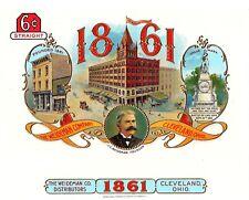 The J.C. Weideman Company 1861 Vintage Antique Cigar Box Label Cleveland, Ohio