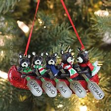 Black Bears Family of 5 in A Canoe Personalized Christmas Tree Ornament Gift
