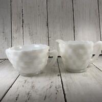 Anchor Hocking White Cube  Creamer & Open  Sugar Bowl Set Milk Glass
