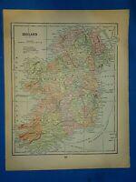 Vintage 1892 MAP ~ IRELAND ~ Old Antique Original Atlas Map