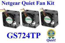 Quiet! Netgear GS724TP Fan Set (3xFans) Sunon only 18dBA Noise Best for HmNetwk