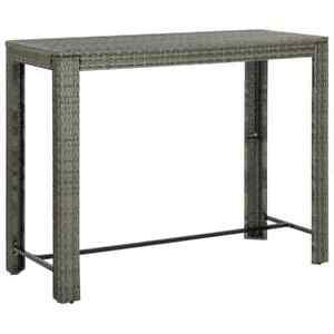 vidaXL Table de Bar de Jardin Gris Résine Tressée Patio Terrasse Extérieur