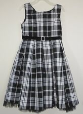 BLOOME Size 6X White Black Plaids Sleeveless Fully Lined Dress
