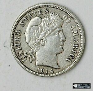 1914 D Barber Dime 10C Ten Cents Full Liberty Higher Grade Silver Rare Coin 4482
