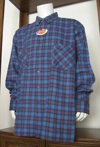 2XLT Men Dickies Long Sleeve Button Down Flannel Shirt Blue Purple Plaid NWT