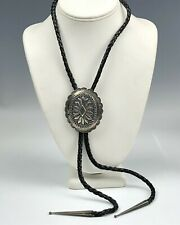 Vintage Native American Navajo Sterling Silver Concho Black Leather Bolo Tie NSS