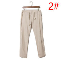 Summer Men's Casual Loose Drawstring Waist Solid Linen Trousers Beach Pants New