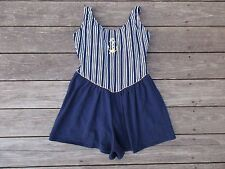 Vintage Nautical Swim Dress Romper Striped Anchor 13 14