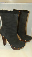 Authentic Gucci Black Suede Shearling Lined Studded Platform Boots EU 40 US 9