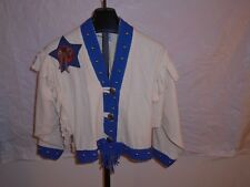 Vintage Alfredo's Wife Size Small 1990s White And Blue Boot Design Jacket Boutiq