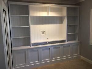 """Classic Kent"" Integrated Entertainment TV Wall Unit Bookshelf Cupboard"