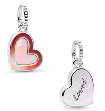 💎🎀 STERLING SILVER 925 RED PINK ASYMMETRIC HEART OF LOVE CHARM & POUCH