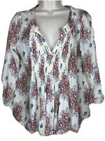 Vanessa Virginia Anthropologie Floral Pleated Embroidered Peasant Boho Top Sz 4