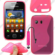 Housse Etui Coque Silicone S-line Gel Rose Samsung Galaxy Y S5360 + Mini Stylet
