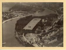 France, Vue aérienne de Grenoble et ses remparts, ca.1920, vintage silver print