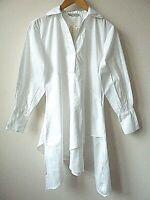 New Womens Ex Branded White Asymmetric Hem 100% Cotton Longline Shirt Size 8-12