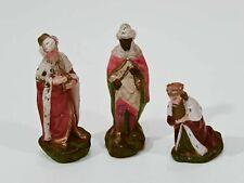 Heilige Drei Könige (Gr. bis 11 cm) Krippenfiguren Stuck Masse ~1930 Weihnachten