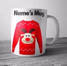 Personalizzato Tazza/Coppa Rudolph Maglione Regalo di Natale/BABBO NATALE SEGRETO-qualsiasi nome