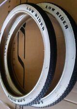 "PAIR OF LOWRIDER TIRES 20"" x 1.75 WHITE WALL ""LOWRIDER"" LOGO BRICK TREAD DURO"