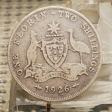 1926 Australia One Florin Two Shillings Silver Coin Better Date