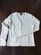 Dkny Essentials Lambswool Angora Ivory Cardigan Sweater Large