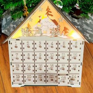 Christmas Wooden Advent Calendar Reusable Drawers Ornaments Xmas LED Light UP