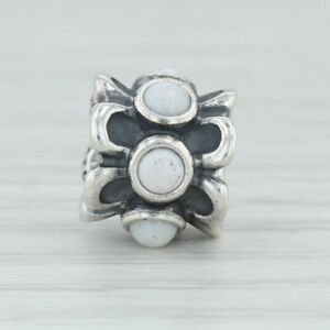 Authentic Pandora Forget Me Not Charm 790470AGW Silver White Agate Flower