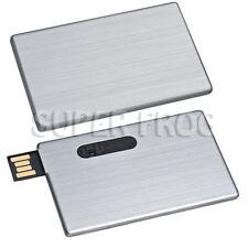 Carta di credito in metallo alluminio MEMORY STICK UNITÀ FLASH USB CHIAVETTA IN ARGENTO