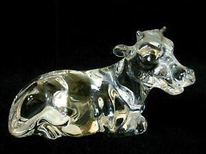 Princess House 24% Lead Crystal Cow Figurine w/ Foil Sticker ~ No Box