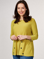 Yong Kim Stretch Jersey Tunic with Button Detail Chartreuse 10