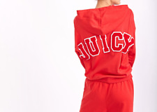 Juicy Couture 'JUICY' Applique Hooded Top | Red | Cotton | Size Sml-Med RRP £95