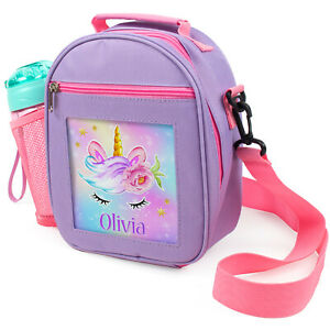Personalised Lunch Bag Unicorn School Girls Kids Cooler Box With Strap Gift PL15