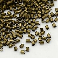 LOT DE 300 PERLES A ECRASER TUBE METAL BRONZE 1,5 MM - CREATION BIJOUX