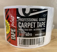 """Carpet Tape Plus Professional Grade Double Sided 4"""" Inch x 40 Yd White 300 Mics"""