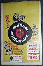 TEENAGE MILLIONAIRE original 1961 movie poster JIMMY CLANTON/JACKIE WILSON/DION